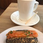 Lox on a poppy seed bun.