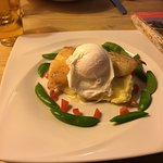 Smoked Haddock with Sugar Snap Peas on Creamed Mashed Potato Topped with Poached Egg& Butter Sau