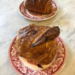 One chocolate, one almond croissant