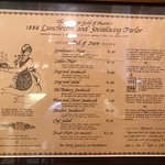 On the wall in the restaurant: An example of the original cafe menu