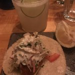 Amazing fish tacos and great drinks