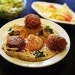 Hummus and Falafel dish