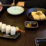 Agedashi Tofu (deep fried tofu) and prawn tempura roll.