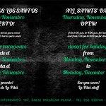 Jueves 01/11/18 Abierto! (cierre por vaciones del 05/11/18 al 03/12/18).