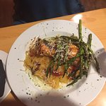 Grilled salmon with squash noodles