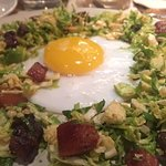Brussel Sprouts, Egg and Pork Belly