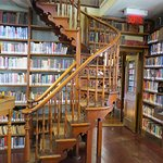 Lovely staircase in library. For a modest fee, you can join this library.