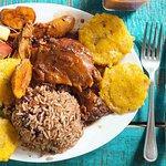 Caribbean Chicken, Rice and beans and green fried plantains!
