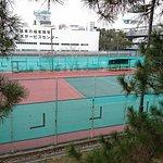 人工芝のテニスコート6面あります