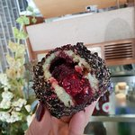 Oreo, dark chocolate and raspberry in potato dough