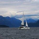The Brand-new Lagoon 42 Catamaran - 'Water Dragon' under sail through picturesque Desolation Sou