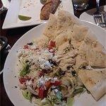 Humus goat cheese salad