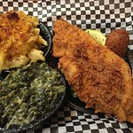 Catfish fillet with spinach casserole and mac & cheese