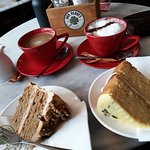Coffee, Cappuccino, Lemon Drizzle Cake, Coffee & Walnut Cake.