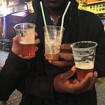 Drinks in plastic glasses