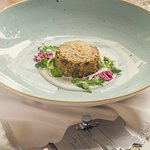 Овощной флан с трюфелем и сырным соусом Vegetable flan with truffle and cheese sauce