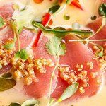 Tuna Tiradito - Sliced yellow fin tuna with rocotto chilli sauce