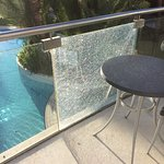 Shattered glass panel, there were more all round the Hotel and grounds