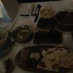 Dinner, vegetable biriyani, cheese naan, Thai green chicken curry, Beef rendang curry, tandoori chicken tikka curry