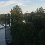 Our almost view of the river from the balcony off our room