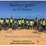 Bicitour gratis por El Quisco. Los fines de semana de Noviembre y Diciembre 2018. Inscribete en www.agenciasuroeste.com