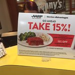 Don't forget to show your AARP Card!