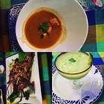 Lobster Bisque, grilled Lobster and an Avocado Margarita! One of the best meals ever!