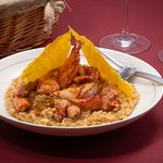 Risotto Carnaroli : Un homard Breton, râpé de gingembre, jus de crustacés