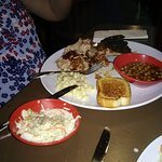 BBQ Combo Platter...1/2 rack of ribs, pulled pork with beans, cole slaw and garlic bread.