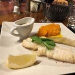 Cod with a creamy leek sauce