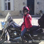 Harley in front of Chateau des Vigiers