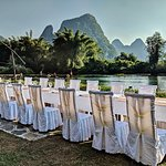Wedding dinner by the Yulong River. Plan your next private event with Yangshuo Mountain Retreat
