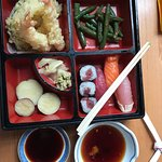 Lunch Combo of sushi, tuna roll, green beans and tempura