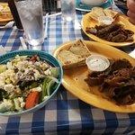 Greek salad with Lamb. So Good!!