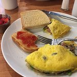 Made to order omelet with sour dough toast.