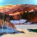 Large painting of Charlevoix region ( 40 x 72) in the traditional style, acrylic with pallet knife, warm colours and plenty of light !