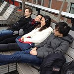 Sitting on one of the benches at The High Line
