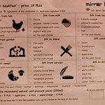 Mirror Bistro - breakfast menu