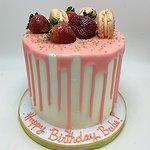 strawberry drip macaron cake