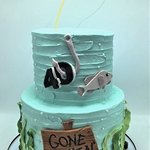 two tier gone fishing birthday cake