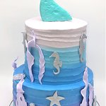 two tier ombre mermaid tail sea cake