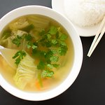 Tom Juet Soup: Napa cabbage, carrots and green onions cooked in a simple yet tasty vegetable-broth soup.