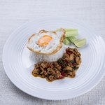 Your choice of chicken, pork, prawns or mixed seafood in spicy basil sauce served with rice
