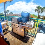 We grill hot dogs and. hamburgers in season