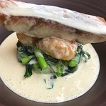 Seabass with vegetables & cream