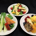 Caribbean Mixed Green Salad, Tropical Fruit & Sorbet, Wedge Salad with sugar rubbed bacon planks