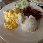 Filipino Breakfast - Tocino and Scrambled eggs