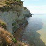 """Blick von den Klippen zum """"Strand"""""""