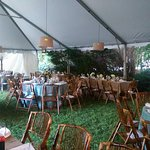 Tented patio for a rehearsal dinner