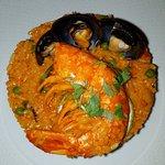 Cevice de grands couteaux et paella péruvienne avec une vraie grosse gambas malgache